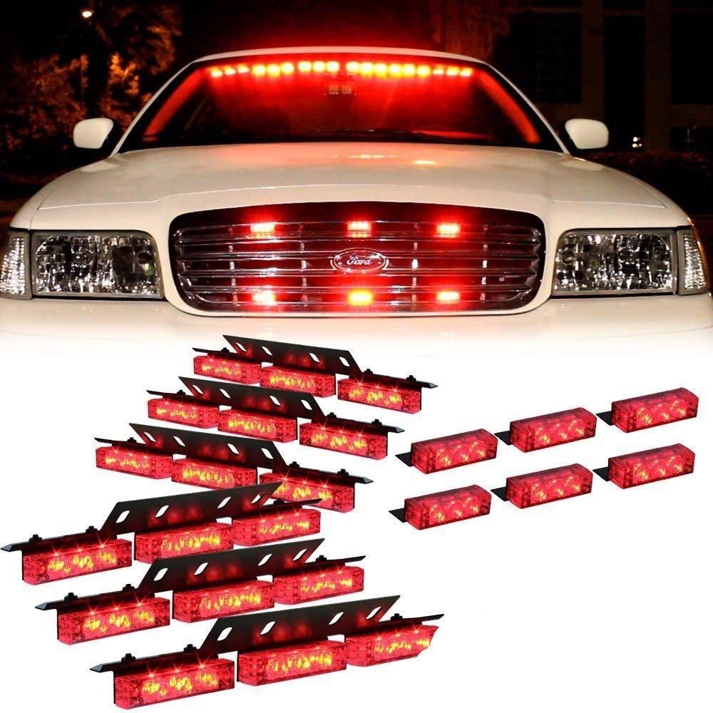 Feux de dé tresse de clignotant d'urgence de danger de pluie de 12V pour le vé hicule, LifeUp 3LED lumiè res de stroboscope de X6 dans le gril arriè re de voiture de plate-forme de voiture d'automobile, 3 modè les instant