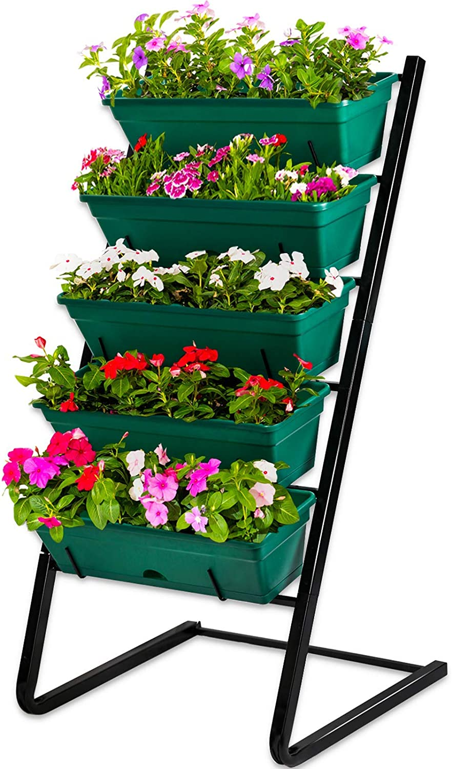 CERBIOR Vertical Garden Herb Raised Bed 4FT Freestanding Elevated Planters with 5 Container Boxes, Good for Patio Balcony Indoor Outdoor (Green)