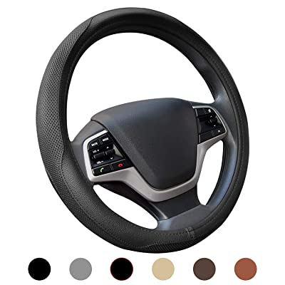 Ylife Microfiber Leather Car Steering Wheel Cover, Universal 15 inch Breathable Anti Slip Auto Steering Wheel Covers, Black: Automotive