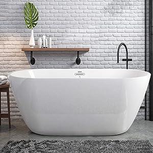 FerdY Freestanding Bathtub Gracefully Shaped Freestanding Soaking Bathtub, 02538-55''Glossy White cUPC Certified(Ferdy-0538-55)
