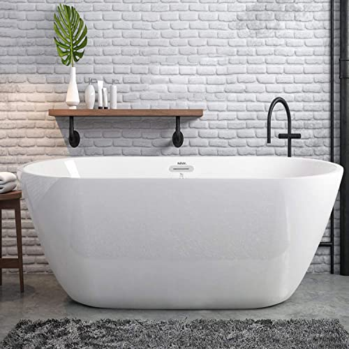 FerdY 55 Acrylic Freestanding Bathtub,Small Gracefully Shaped Freestanding Soaking Bathtub, Glossy White 2019 All New Oval, cUPC Certified, Drain Overflow Assembly Included