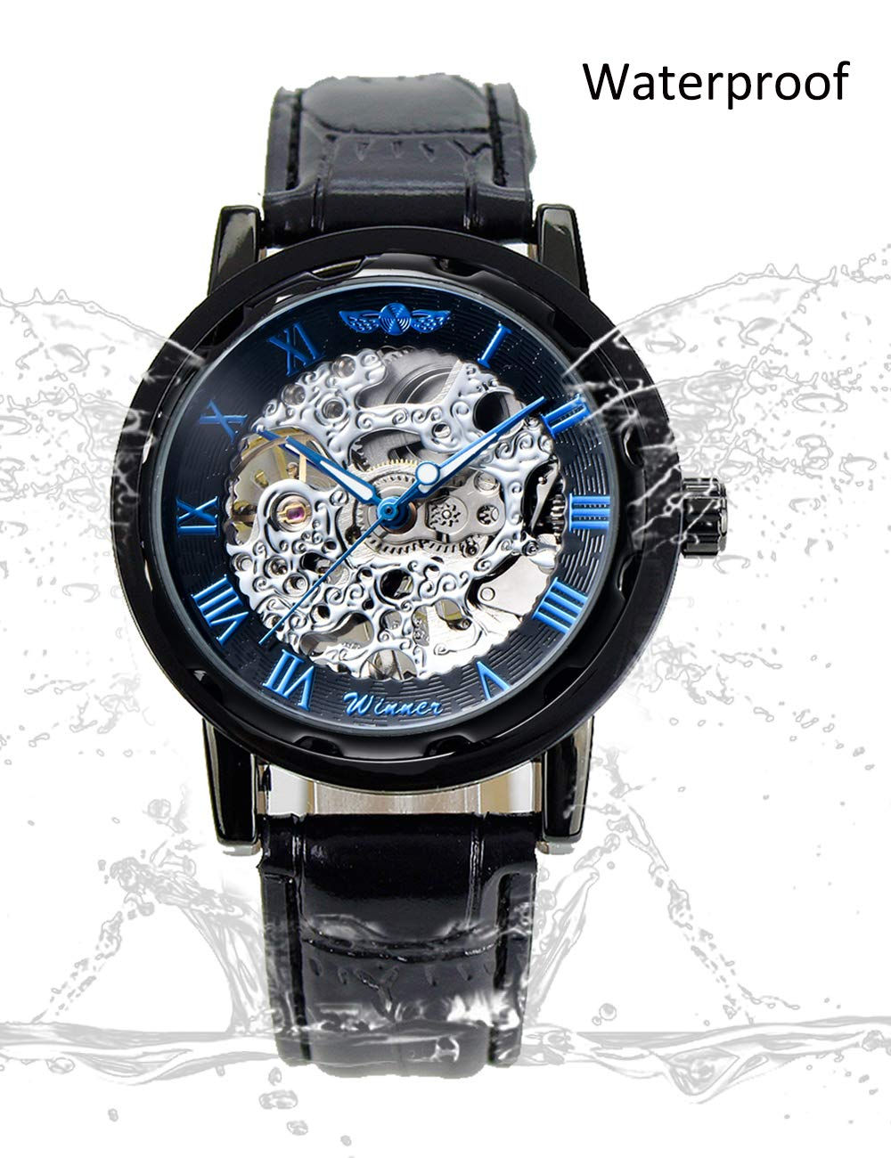 Gute Classic Steampunk Bling Automatic Mechanical Wristwatch See Through Skeleton Automatic Unisex Watch (Blue-Black) 4