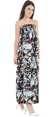c53f20730b1 CHOCOLATE PICKLE New Womens Floral Print Sheering Gather Boobtube Bandeau  Strapless Maxi Dress 8-22  Amazon.co.uk  Clothing