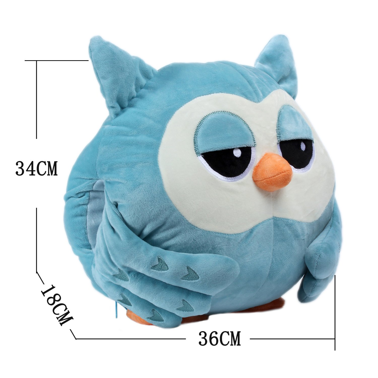Alpacasso 3 In 1 Cute Cartoon Plush Stuffed Animal Toys Throw Pillow Blanket Set with Hand Warmer Design. (Blue Owl) by Alpacasso (Image #2)