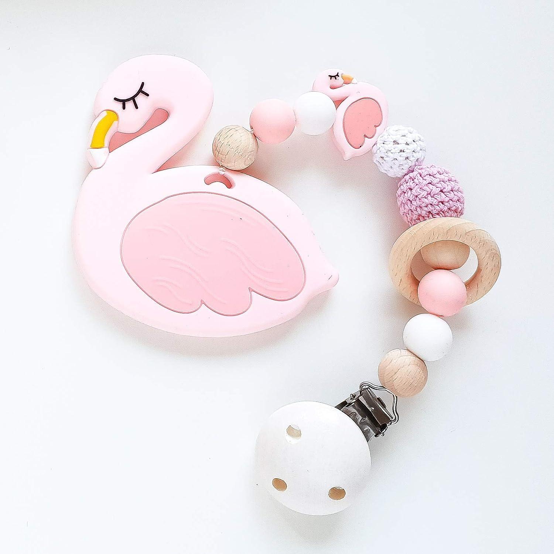 Beiß kette 'Flamingo in Rosa und Weiß ' Zahnungshilfe fü r Babys