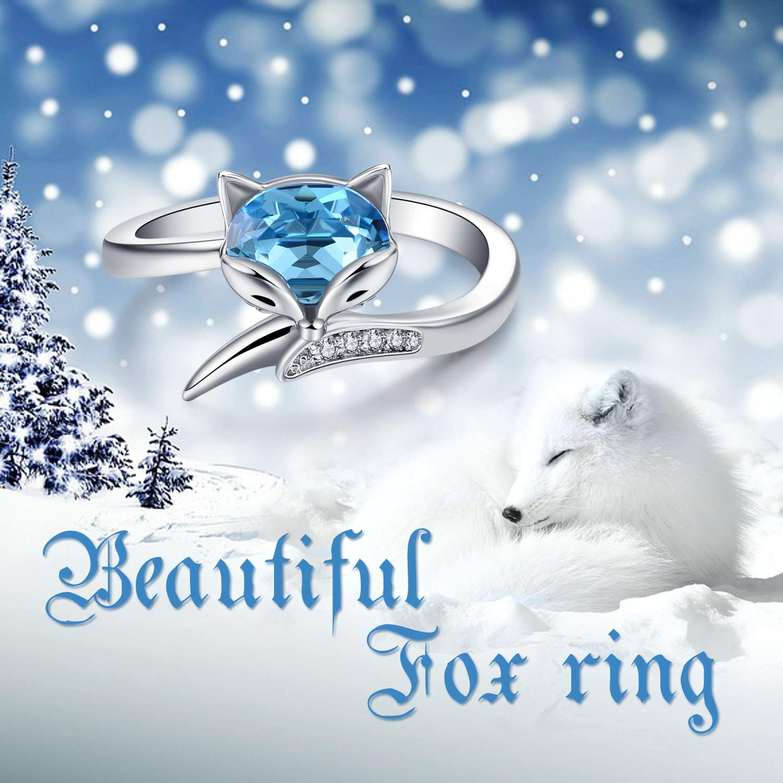 Bague r/églable en argent sterling pour femme renard avec cristaux aigue-marine de Swarovski