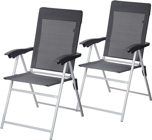 SONGMICS GCB03GY - Juego de 2 sillas de jardín Plegables con reposabrazos, Asiento cómodo, Altura Regulable, soporta hasta 150 kg, Color Gris: Amazon.es: Jardín