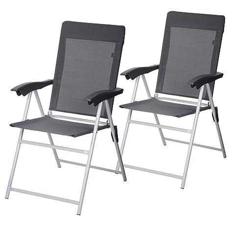 SONGMICS GCB03GY - Juego de 2 sillas de jardín Plegables con ...