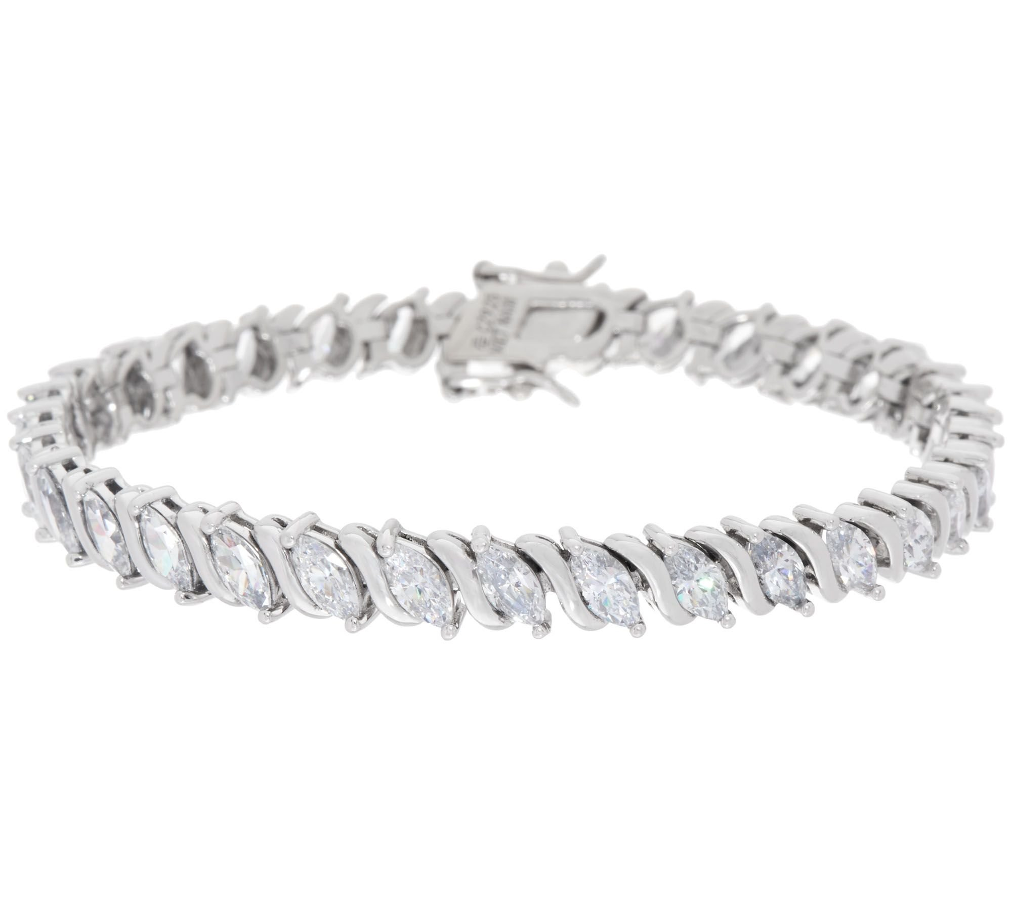 Smjewels 8.65 Ct Prong-Set Marquise Cut D/VVS1 Diamond 14K White Gold Plated Tennis Bracelet by Smjewels