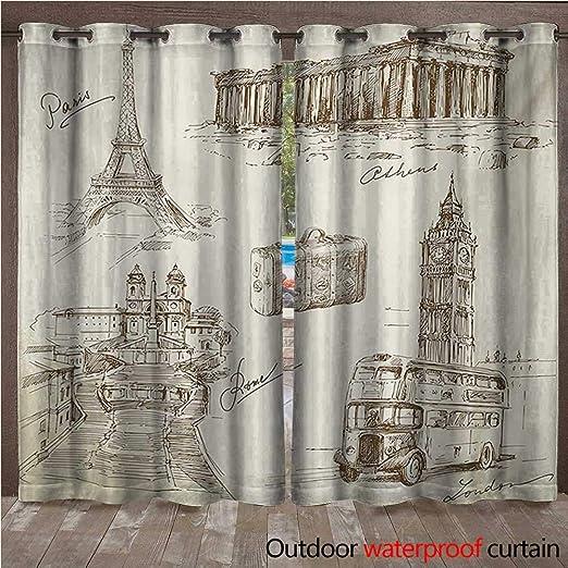 BlountDecor Panel de Cortina de Viaje con Arandelas y Torre ...