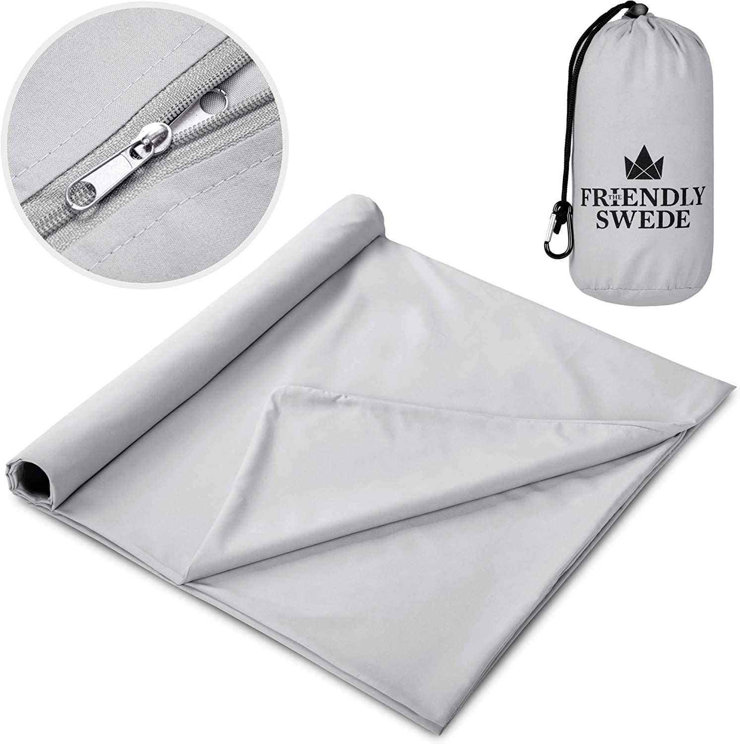 The Friendly Swede Sleeping Bag Liner – Travel and Camping Sheet, Pocket-Size, Ultra Lightweight, Silky Smooth Cool or Cotton Soft Warm Microfiber with Stuff Sack