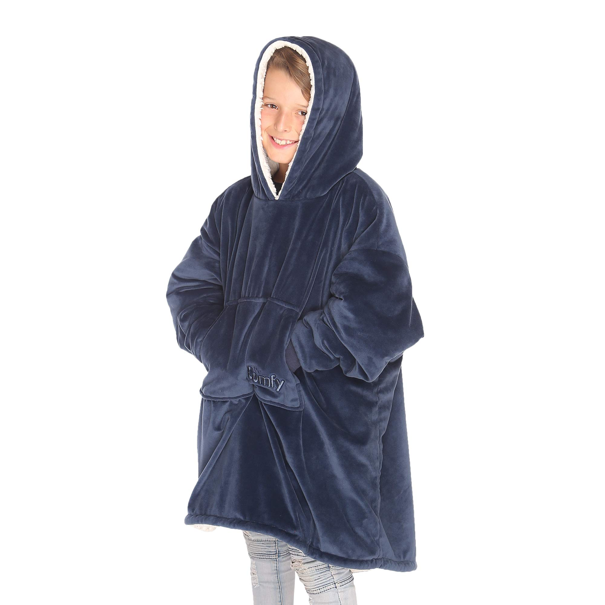 THE COMFY Kids: Original Blanket Sweatshirt, Shark Tank, Warm, Soft, Cozy, Wearable Sherpa Hoodie, Multiple Colors, One Size Fits All, Children, Boys, Girls, Blue, Pink by THE COMFY