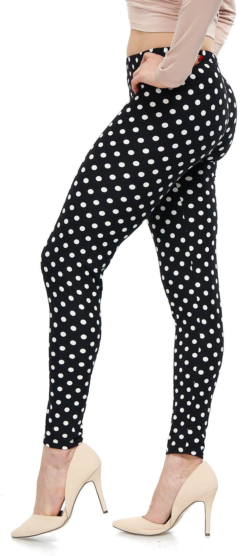 LMB Lush Moda Extra Soft Leggings with Designs- Variety of Prints - 721F Polka Dot B5