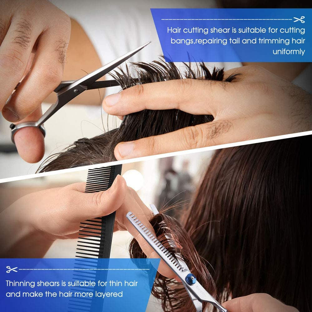 Hair Cutting Scissors Kits, 10 Pcs Stainless Steel Hairdressing Shears Set Professional Thinning Scissors For Barber/Salon/Home/Men/Women/Kids/Adults Shear Sets: Home Improvement