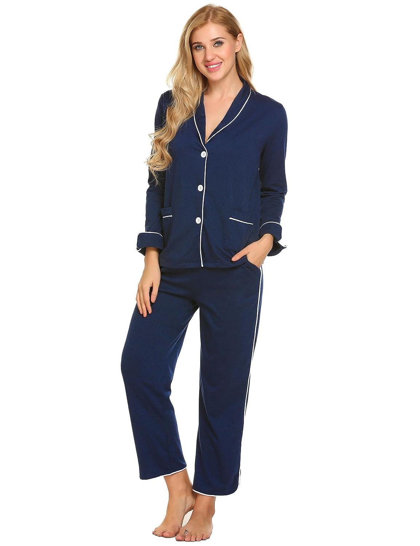 ADOME Damen Schlafanzug Baumwolle lang Zweiteiliger Pyjama Set Knopfleiste Schwarz/Grau/Blau