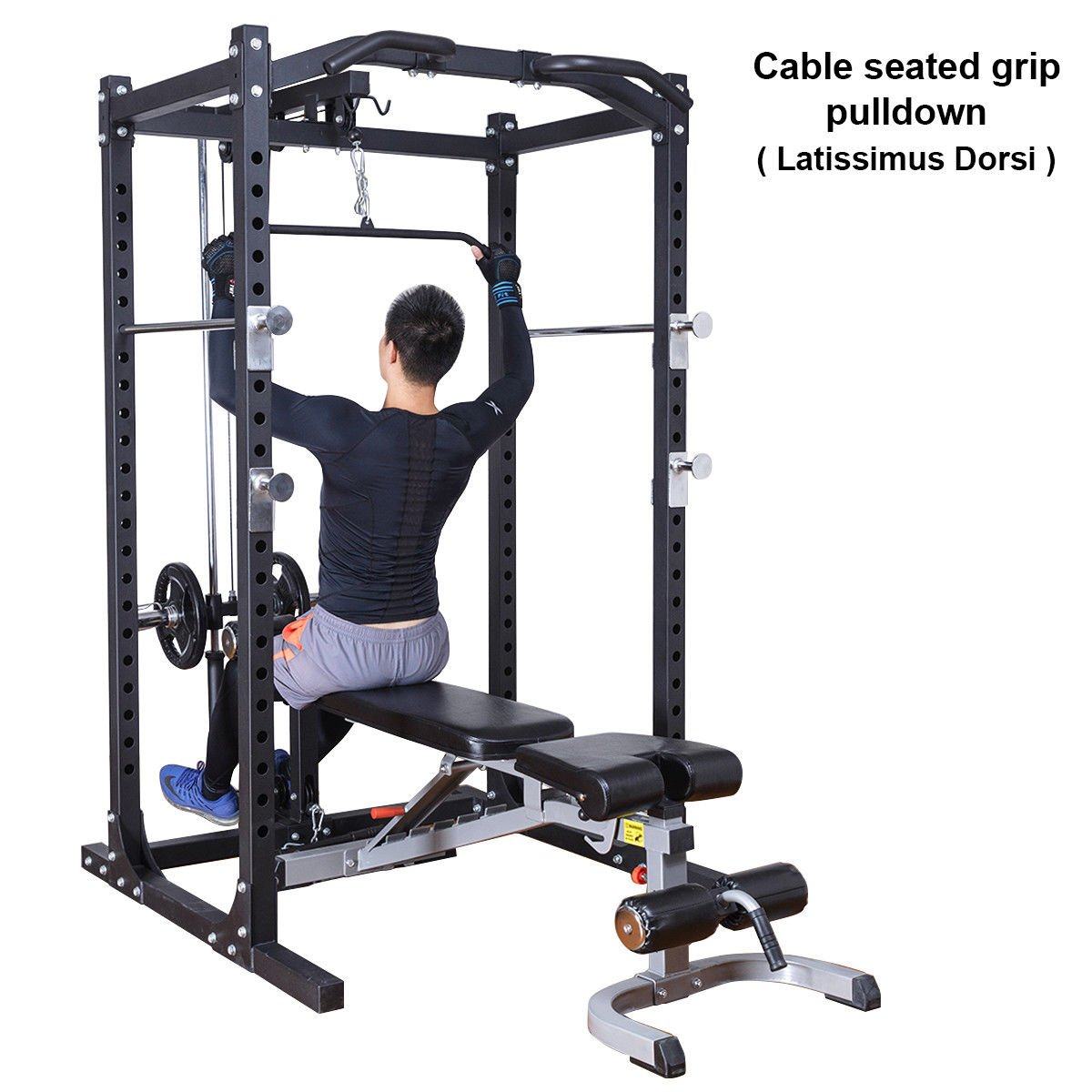 amazon com goplus fitness power rack w lat pull attachment