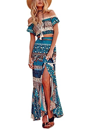 d80c9488f84 Women Bohemian Off Shoulder Crop Top and Maxi Skirt 2 Piece Outfit Size XL  (US