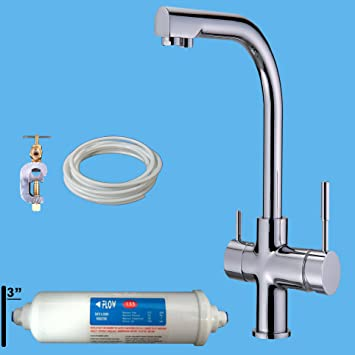 Nw08 Triflow Deluxe Chrome 3 Way Kitchen Tap Water Filter System