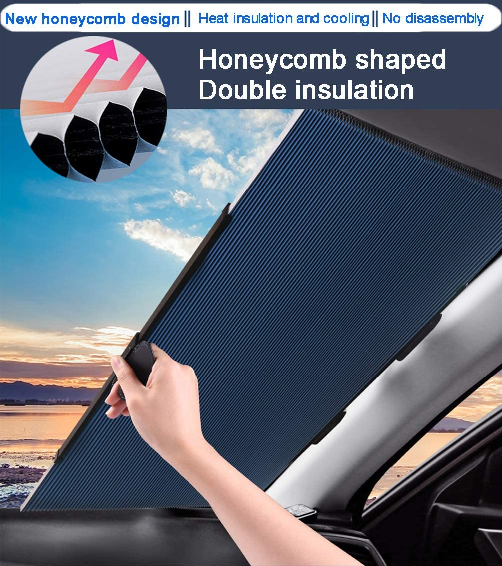 Cordless Cellular Sun Visor Protector Blocks 99/% UV Rays to Keep The Vehicle Cool Honeycomb Sunshade Fits Various Models with 3 Suction Cups 63CM//25IN Retractable Windshield Sun Shade for Car