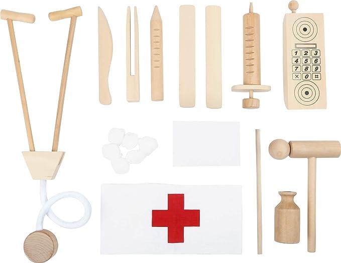 6113 Valigetta del Dottore in Legno Small Foot in Legno a Partire da 3 Anni. con termometro per la Febbre Cuffia da Infermiera e Molto Altro Ancora stetoscopio