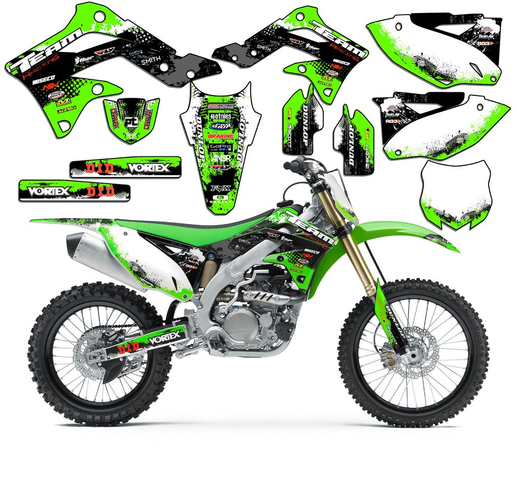 Team Racing Graphics kit compatible with Kawasaki 2008-2018 KLX 140 SCATTER