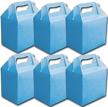 Guaranteed4Less 6 Azul Infantil Regalo Almuerzo Fiesta Caja Cajas Comida Cumpleaños Detalle de Boda: Amazon.es: Juguetes y juegos
