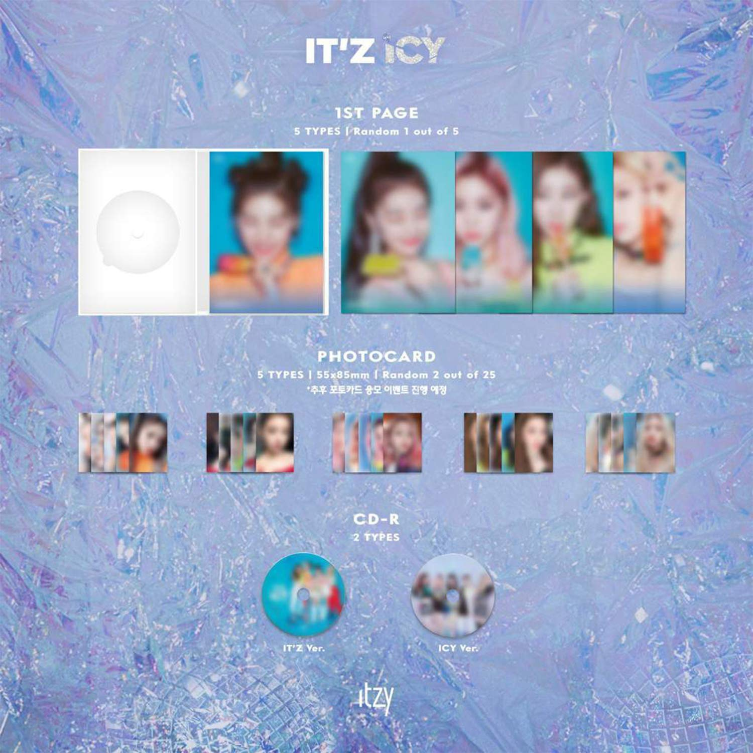 ITZY 1st Album - IT'Z ICY [ ICY ver. ] CD + Photobook + Photocards + IT'Z  DIFFERENT BOOKLET&PHOCARD + POSTCARD SET + 2TZY STICKER + OFFICIAL POSTER +  FREE GIFT - ITZY: Amazon.de: Musik