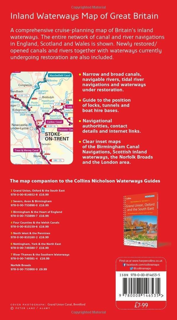 Collins Nicholson Inland Waterways Map of Great Britain Nicholson