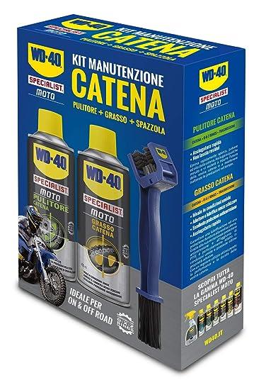 WD-40 Specialist Moto - Kit de mantenimiento de cadena de moto con 1 limpiador de cadena de 400 ml, 1 grasa de cadena de 400 ml y 1 cepillo de cadena: Amazon.es: Industria, empresas y ciencia