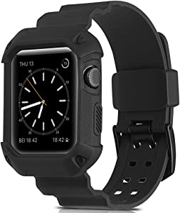 Compatible Apple Watch Band 42mm Case,Camyse Shockproof Rugged Protective Cover with Bands Stainless Steel Clasp for iWatch Apple Watch Series 3, 2, 1 Sport Edition for Men Women grils boys - Black