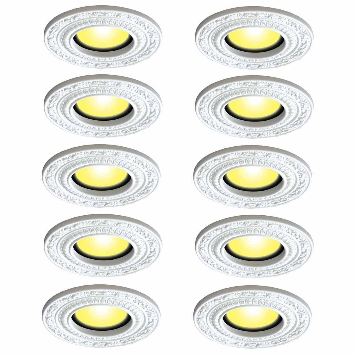 Spot Light Trim Medallions 6 Inch ID White Urethane Set Of 10 | Renovator's Supply