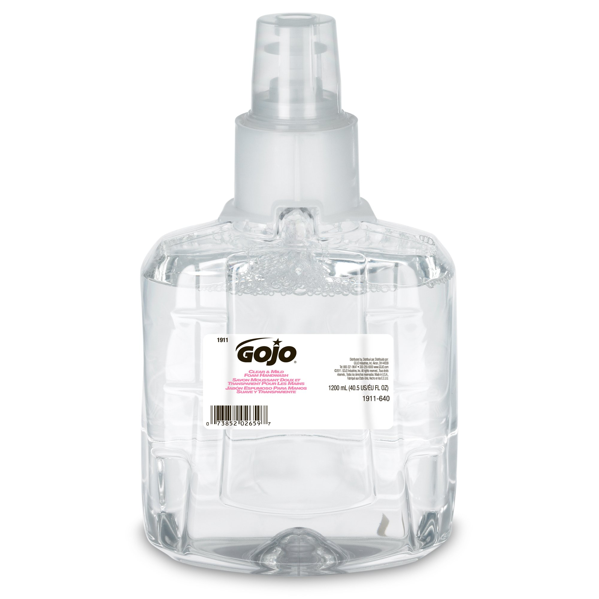 GOJO Foam Soap Handwash - Clear and Mild Foam Handwash, 1200mL Refill for GOJO LTX-12 Dispenser (Pack of 2) - 1911-02