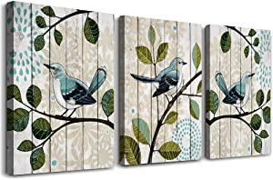 "bird on the branch 3 Piece abstract Canvas Wall Art for living room Wall Decor for bedroom kitchen decorations abstract posters Canvas Prints artwork Modern framed bathroom Home decoration 12"" x 16"""