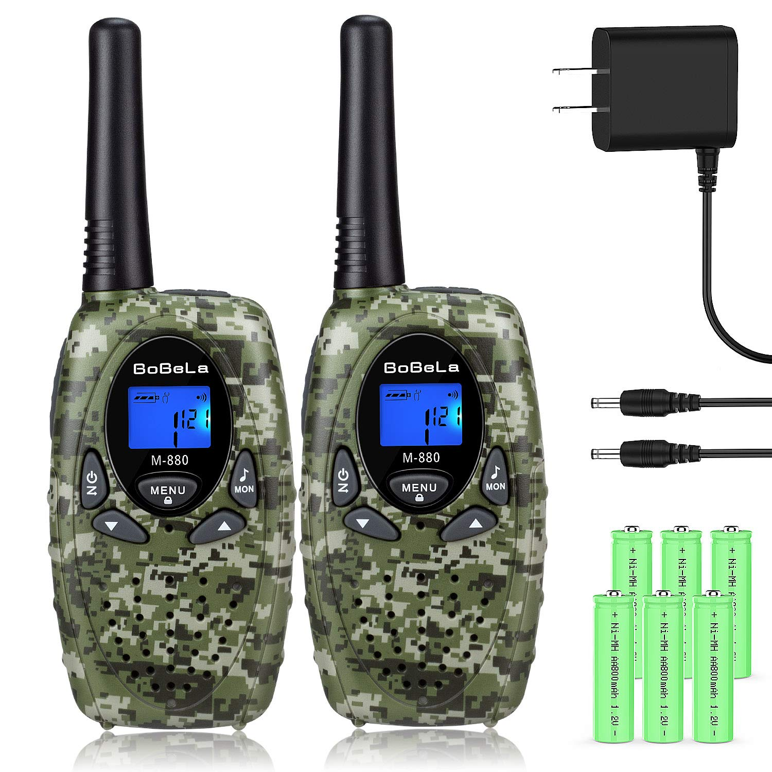 Bobela Walkie Talkies for Adults, Rechargeable 22 Channels Handheld Long Range Two Way Radio FRS GMRS Durable Walky Talky Clear Sound for Outdoor Adventures Camping Hiking (M880 Camo,2 Pack) by Bobela (Image #1)