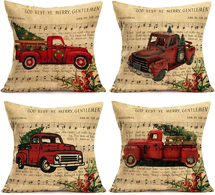 Aremetop Red Truck and Christmas Trees Decorative Pillow Covers Rustic Music Food Background Christmas Greeting Quotes Cotton Linen Winter Farmhouse Throw Pillow Case Cushion Cover 18''x18'' Set of 4