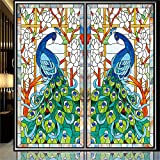 """(Set of 1 Panel) OstepDecor Custom Peacock Translucent Non-Adhesive Frosted Stained Glass Window Films 24"""" W x 36"""" H"""