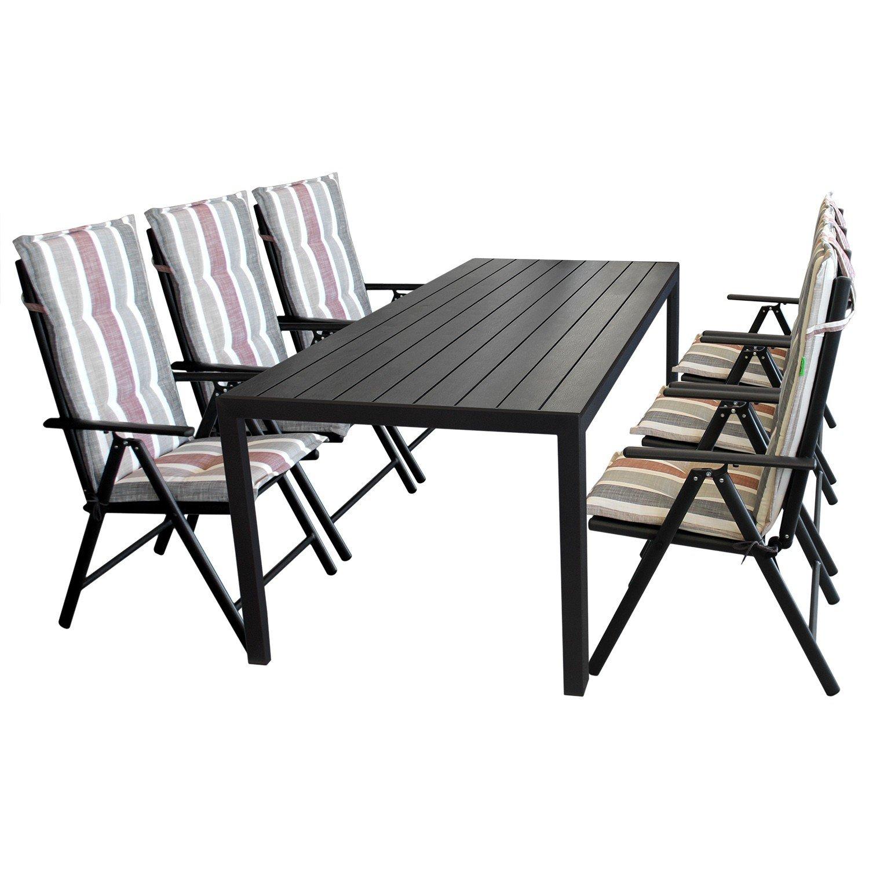 Gartenmöbel Terrassenmöbel Set Sitzgruppe Gartengarnitur U2013 Gartentisch,  205x90cm, Polywood Tischplatte, Schwarz + 6x Hochlehner, 7 Fach  Verstellbare Lehne, ...