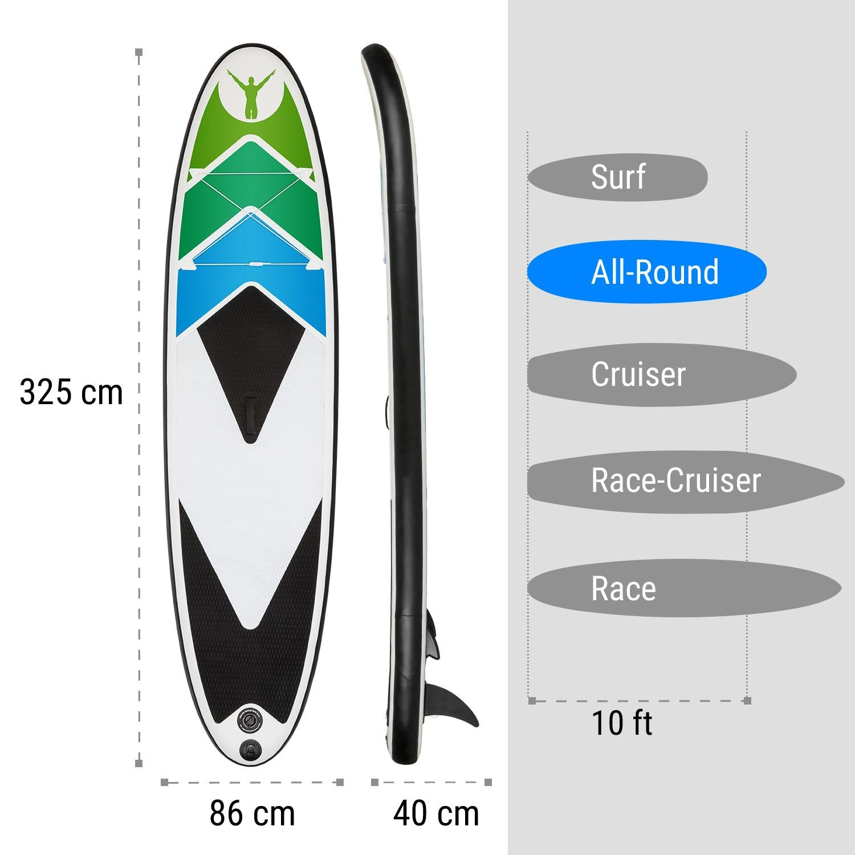 Klarfit Spreestar 325 Tabla de pie Hinchable • Paddleboard • Paddle Surf • Tabla Sup 325x15x86cm • Bomba de Aire • Pala • Correa de Seguridad • Mochila ...