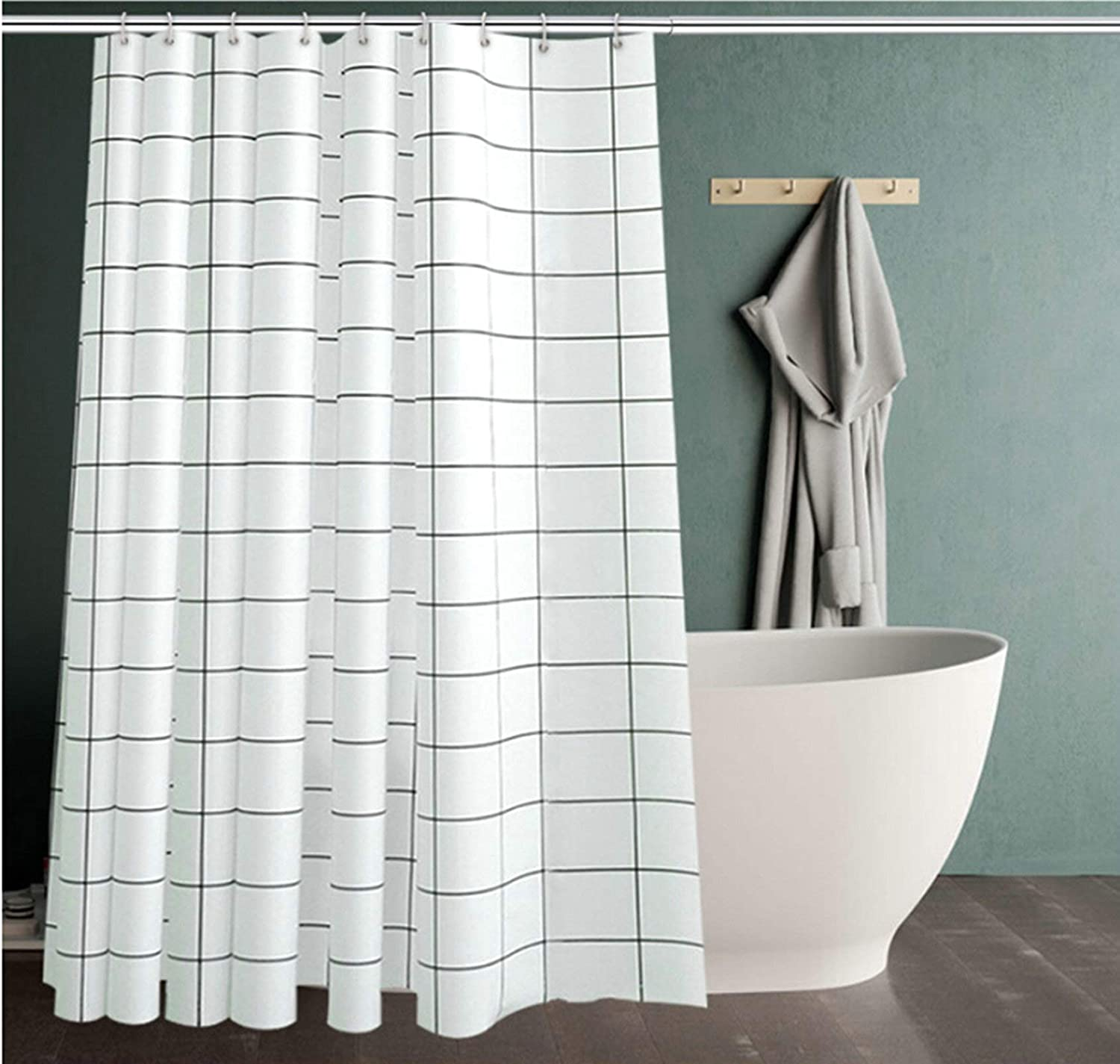 KnSam Rideau de Douche Original Simple en PEVA Blanc Carreaux 80x180 Imperm/éable Anti Moisissure