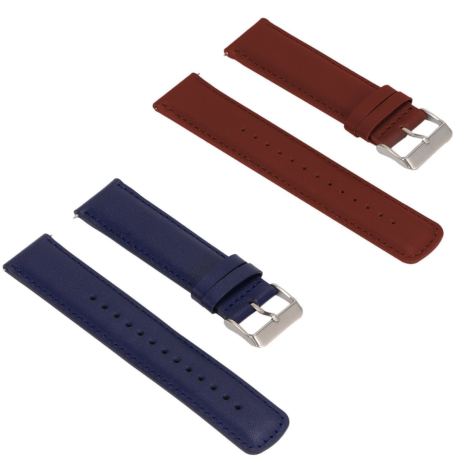 Turnwin for Amazfit Pace Straps Wristbands, 2pcs Replacement Leather Bands for Amazfit Pace Only (Blue+Brown)