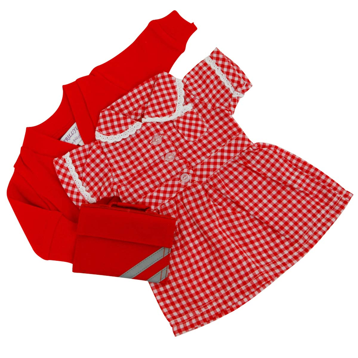 MEDIUM DOLLS SUMMER UNIFORM RED 18-20inch 45-50 cm DOLLS AND BEARS,TO FIT DOLLS SUCH AS BABY ANNABELL 46CM FRILLY LILY MED SUMMER UNIFORM DRESS/CARDY/BAG