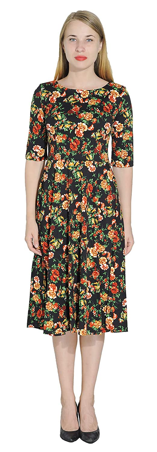 orange Peonies marycrafts Women's Floral Print Fit Flared Midi Dress