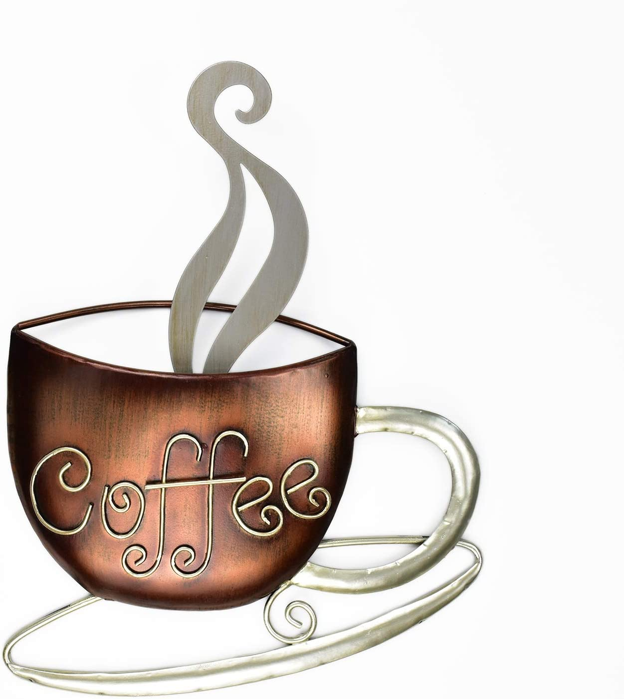 Aayla Metal Coffee Cup Wall Hanging Sculpture, for Home Kitchen Restaurants and Coffee Shops, in Metal with Brown and Champagne Color (14.75