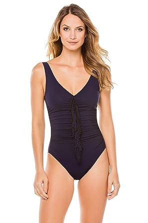 5bcb238156 Karla Colletto Women's Fresco One Piece Wide Strap Tank Swimsuit Navy/Black  8 at Amazon Women's Clothing store:
