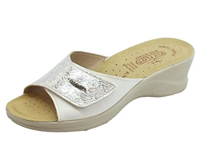 Fly Flot Women's Slippers White Size: 8.5 UK: Amazon.co.uk