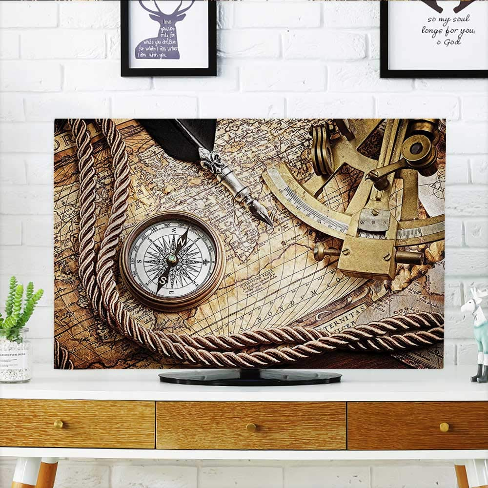 Auraisehome Protect Your TV Vintage Navigation Voyage Themed Lifestyle Image with Sextant and Compass Discovery Tools Art Protect Your TV W32 x H51 INCH/TV 55''