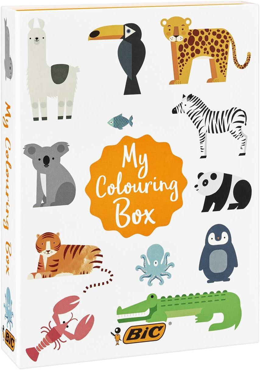 BIC My Colouring Box - Kit para Colorear con 12 Marcadores/18 Lápices de colores/6 Tubos de Pegamento con Purpurina/1 Libro para Colorear y 36 Adhesivos