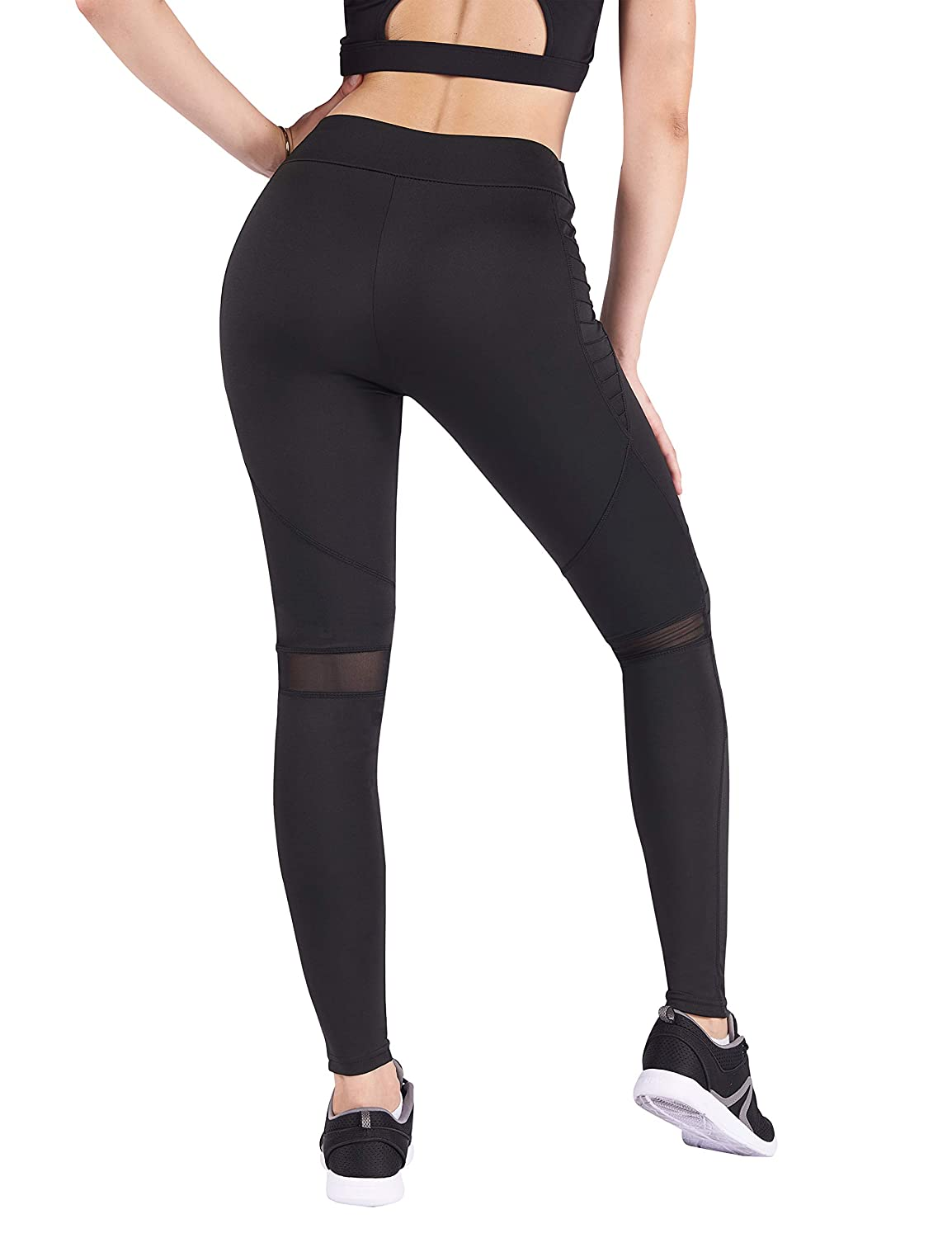 Kblack DrKr High Waist Yoga Pants Tummy Control Workout Leggings for Women
