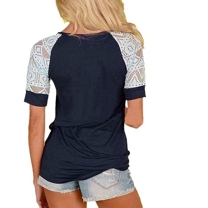 Minetom Verano Blusas para Mujer Casual Manga Corta Camiseta Elegante Cuello Redondo Cordón Encaje Patchwork Camisa Suelto T-Shirt Tops Armada ES 48: ...