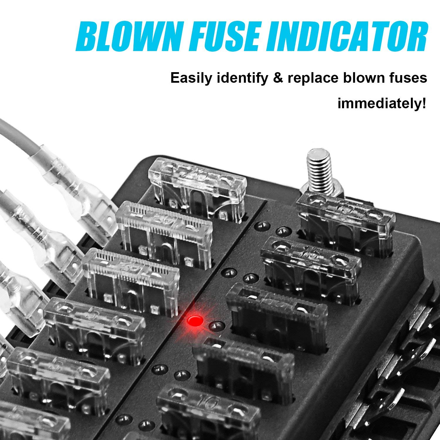 TURN RAISE 8-Way Blade Fuse Box Fuse Box Block with LED Warning Indicator /& Waterproof Cover for Car Boat Marine RV Truck DC 12-24